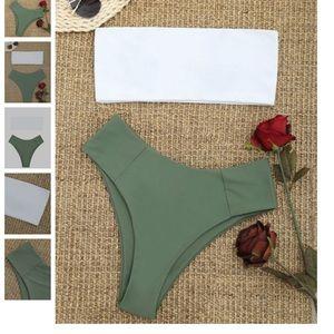 Other - High Cut Two Tone Bandeau Bikini Set